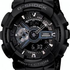 CASIO G-SHOCK GA-110 ALL BLACK-MODEL NOU-BACKLIGHT-CUTIE METALICA INCLUSA !! - Ceas barbatesc Casio, Sport, Quartz, Cauciuc, Alarma, Analog & digital