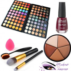 Trusa machiaj 120 culori MAC + pensule make up + buretel para + oja fond de ten - Trusa make up