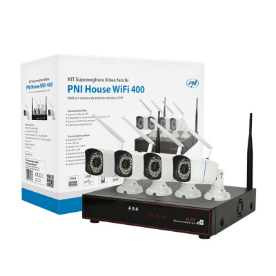 Resigilat : Kit supraveghere video PNI House WiFi400 NVR si 4 camere wireless, 1.0 foto