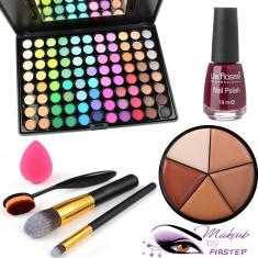 Paleta farduri machiaj 88 culori MAC + Pensule makeup + Buretel ou Oja fond ten - Trusa make up