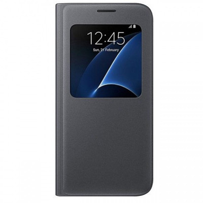 Husa piele Samsung Galaxy S7 G930 S-View EF-CG930PB Blister Originala foto