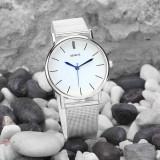 Ceas de dama casual GENEVE, fashion, simplu curea din inox argintiu - Ceas dama Geneva, Quartz, Analog