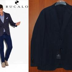 Bucalo Italy Sacou Casual Barbati SLIM FIT, Marime 50 (cca L) - Sacou barbati, Culoare: Bleumarin, 2 nasturi, Normal, Bumbac