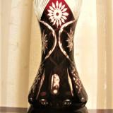 VAZA VINTAGE DIN SEMICRISTAL RUBIN, DIMENSIUNE MARE, DEOSEBITA - Vaza sticla