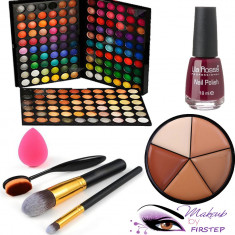 Paleta farduri machiaj 180 culori MAC + Pensule makeup + Buretel ou Oja fond ten - Trusa make up