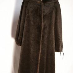 Palton cu gluga din lama Peter Hahn Exquisit - Palton dama, Marime: M/L, Culoare: Maro