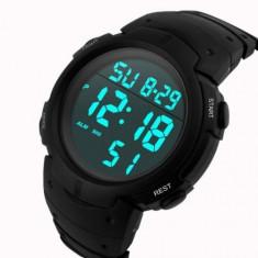 Ceas barbatesc Honhx Quartz digital cu data alarma cronometru, Lux - sport, Inox, Ziua si data, LED