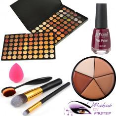 Trusa machiaj 120 culori MAC + pensule make up + buretel ou + oja fond de ten - Trusa make up