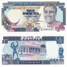 ZAMBIA 10 kwacha ND 1989-91 UNC!!!