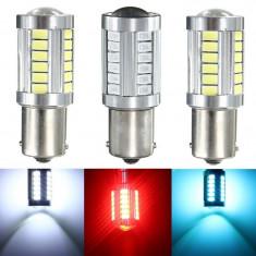 Bec LED 33x SMD 5630 ROSU BA15S 1156 pt marsarier/pozitie/frana - Led auto EuropeAsia, Universal