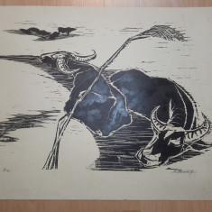 LITOGRAFIE MARCEL CHIRNOAGA - Pictor roman, Animale, Cerneala, Realism