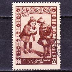 Timbre ROMANIA 1955/*386 = ZIUA INTERNATIONALA A COPILULUI, Stampilat