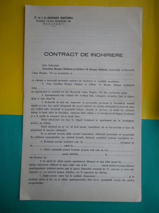 HOPCT DOCUMENT VECHI 2  - CONTRACT DE INCHIRIERE /I H BERGER SAFIANU-BUCURESTI