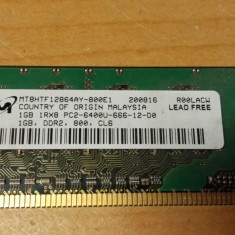 Ram PC Micron 1Gb DDR2 PC2-6400S MT8HTF12864AY-800E1 - Memorie RAM laptop Micron, 800 mhz