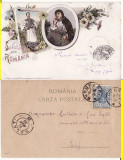 Salutari din Romania-tipuri, port popular  - litografie 1898