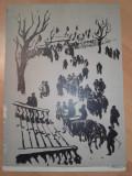 "LITOGRAFIE MARCEL CHIRNOAGA ""ADUNAREA"", Scene gen, Cerneala, Realism"