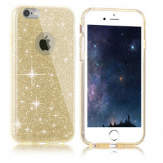 Husa iPhone 7 TPU Glitter Gold - Husa Telefon Apple, iPhone 7/8, Auriu, Gel TPU, Fara snur, Carcasa