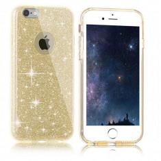 Husa iPhone 7 TPU Glitter Gold - Husa Telefon Apple, Auriu, Gel TPU, Fara snur, Carcasa