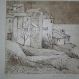 "GRAVURA BOGDAN STIHI, ""CASE LA CONSTANTA"" 1983 - Pictor roman, Peisaje, Cerneala, Realism"