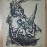 "LITOGRAFIE MARCEL CHIRNOAGA ""CAMIOANELE COLECTIVE"", 1960 - Pictor roman, Scene gen, Cerneala, Realism"