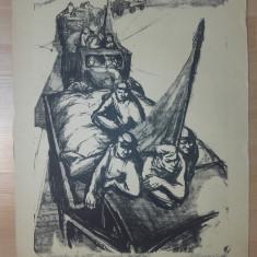 LITOGRAFIE MARCEL CHIRNOAGA , 1960- CAMIOANELE COLECTIVEI, Scene gen, Cerneala, Realism