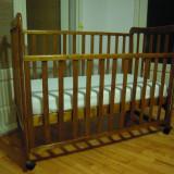 Patut bebe lemn masiv - saltea fibre cocs - protectie saltea