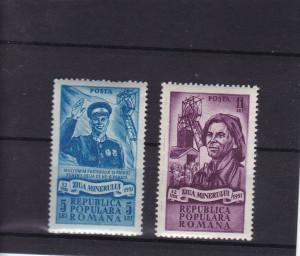 ROMANIA 1951  LP 285  ZIUA MINERULUI  SERIE MNH