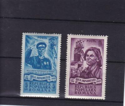 ROMANIA 1951  LP 285  ZIUA MINERULUI  SERIE MNH foto