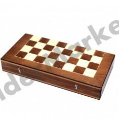 Set joc table si sah din lemn lacuit 32 x 16 cm cu piese incluse