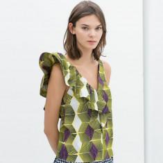 Mas S - Nou! Top superb ZARA - Bluza dama Zara, Marime: S, Culoare: Din imagine, Maneca scurta, Universala, Bumbac