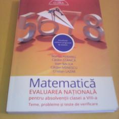 MATEMATICA EVALUARE NATIONALA MARIUS PERIANU CLASA 8 TEME, PROBLEME SI TESTE - Carte Teste Nationale