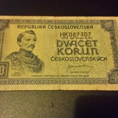 BANCNOTA Cehoslovacia - 20 KORUN - bancnota europa