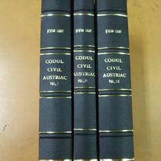 Codul civil austriac 3 volume Cluj 1924 St. Laday Ardeal jurisprudenta legi - Carte Drept civil