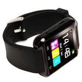 Smartwatch Ceas Inteligent U8, NOU, Model 2016, folie pe ecran, culoare neagra