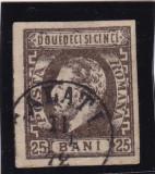 ROMANIA 1871/72 , CAROL I CU BARBA VAL. 25 BANI  BRUN STAMPILAT