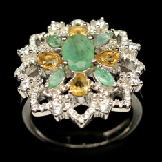 Delicat ! inel argint 925 placat aur alb marime 6 cu smarald natural si citrine!
