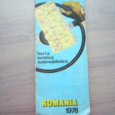 MSHAR - HARTA TURISTICA AUTOMOBILISTICA - 1978 - PIESA DE COLECTIE