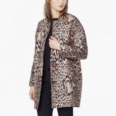 Palton MANGO (zara group) pardesiu jacheta animal print-S 36 nou cu eticheta - Palton dama, Marime: S, Culoare: Negru, Bumbac