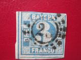 TIMBRE GERMANIA=1849=BAYERN =3 KREUZER=STAMPILAT=NEUZAT