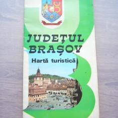 MSHAR - HARTA TURISTICA - JUDETUL BRASOV - 1983 - PIESA DE COLECTIE