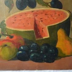 Natura moarta cu fructe pictura veche u/c, Natura statica, Ulei, Realism