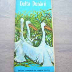 MSHAR - HARTA TURISTICA - DELTA DUNARII - 1980 - PIESA DE COLECTIE
