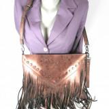 Geanta dama maro bronz cu franjuri Givenchy+CADOU, Culoare: Din imagine, Marime: Medie, Geanta de umar, Asemanator piele