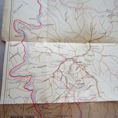 MSHAR - HARTA TURISTICA - MASIVUL COZIA - PIESA DE COLECTIE