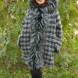 Jacheta de toamna, nuanta de gri, din lana cu captuseala subtire