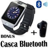 Smartwatch DZ09 ceas telefon cartela sim camera FOTO + CASCA Bluetooth, Alte materiale, Argintiu, Android Wear