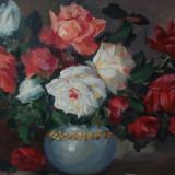 Trandafiri in vas albastru, tablou in ulei pe panza semnat - Pictor roman, Flori, Impresionism