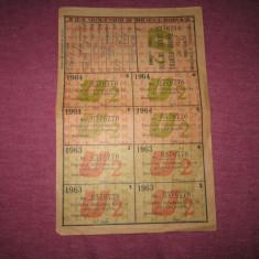 Tichet pt lemne de foc anii 1963 1964 intreg c3