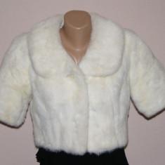 Superba capa din blana naturala de nurca alba - haina de blana