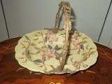 Deosebita fructiera,cosulet din portelan cu bronz piesa foarte frumoasa